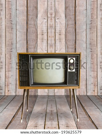 vintage television in old wooden room.
