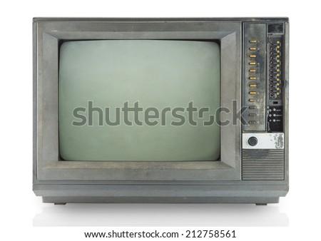 Vintage television isolate on white ,retro technology - stock photo