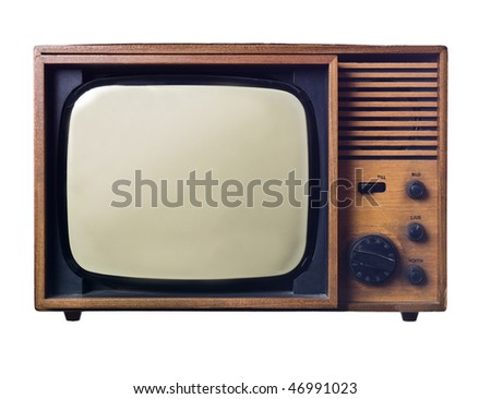Vintage television isolated on white background - stock photo