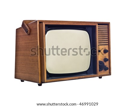 Vintage television isolated on white background - stock photo