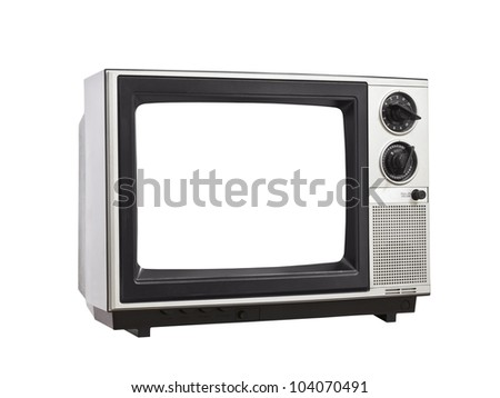 Vintage Television isolated with blank, empty screen. - stock photo