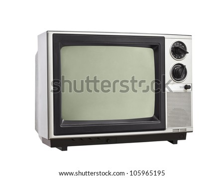Vintage Television isolated with clipping path. - stock photo