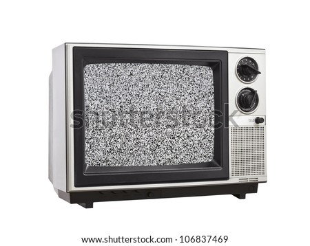 Vintage Television isolated with static screen. - stock photo