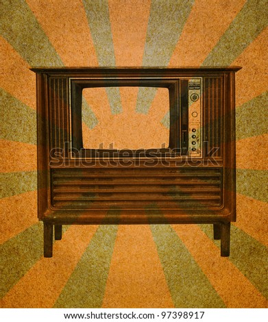 Vintage television on grunge paper  with abstract sun rays