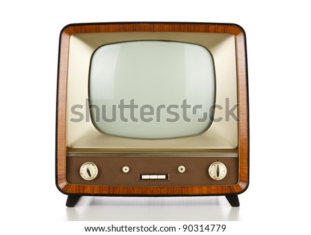 Vintage television over white background - stock photo