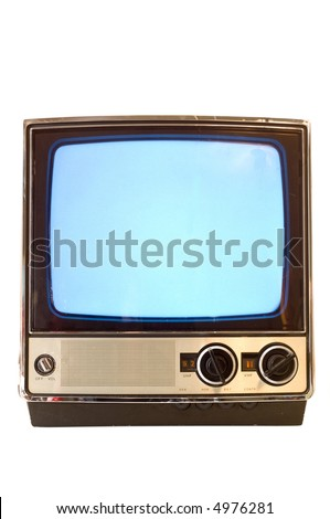 Vintage television set turned on with snowy screen, screen could be used for copy space, on white background - stock photo