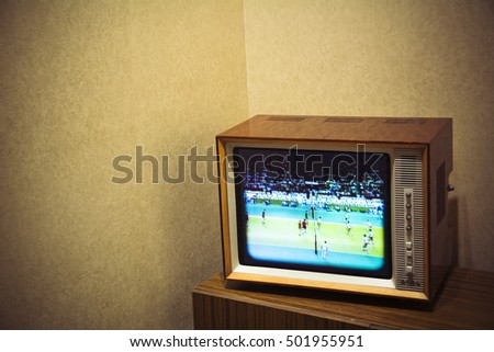 Vintage television set with room for text on background