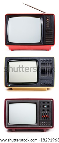Vintage Television sets isolated on white background - stock photo