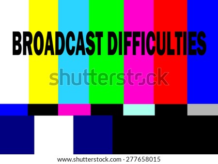vintage television test pattern with broadcast difficulties warning - stock photo