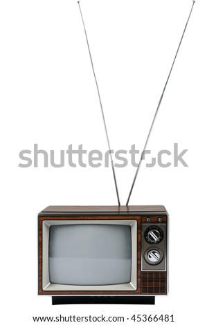 Vintage television with antenna isolated over white background - stock photo