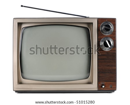 Vintage television with antenna isolated over white background - With clipping path - stock photo