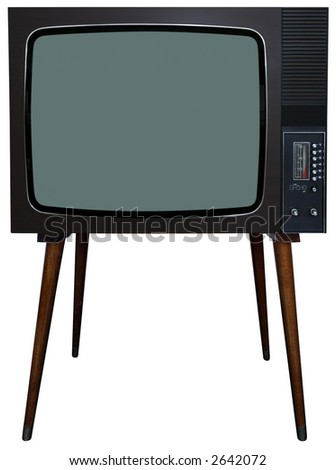 Vintage television with clipping path - stock photo
