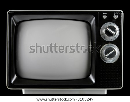 Vintage Television with knobs and buttons isolated over a black background.