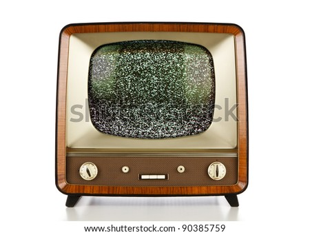 Vintage television with no signal static - stock photo