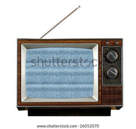 Vintage television without signal producing electronic snow - stock photo
