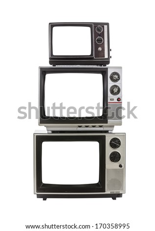 Vintage televisions with cut out screens. - stock photo