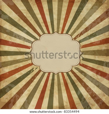 Vintage template with sunbeams, old card, JPG - stock photo