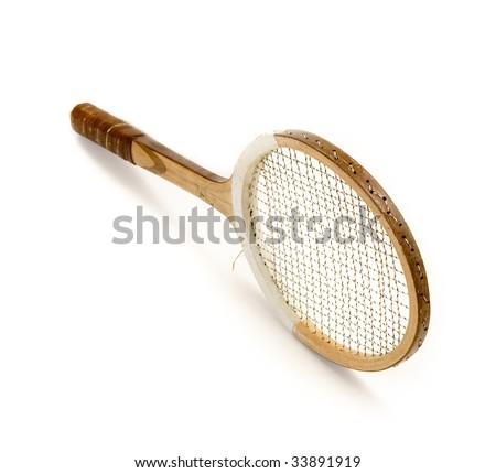 vintage tennis racquet - stock photo