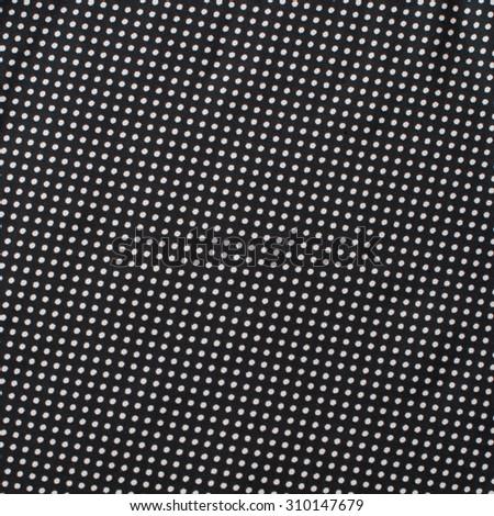 Vintage Textile Satin with White Polka Dots Pattern on Black background, retro style - stock photo