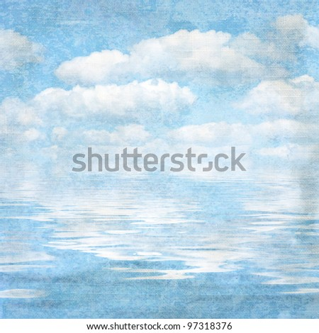 vintage textured background blue sky and cloud. Page to design photo books