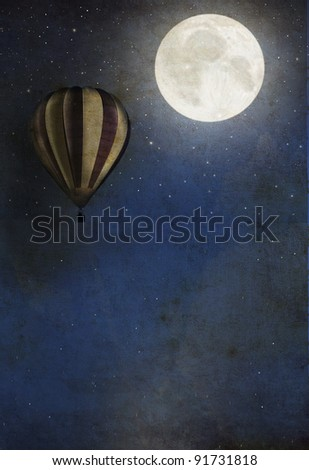 Vintage textured background with balloon and moon - stock photo