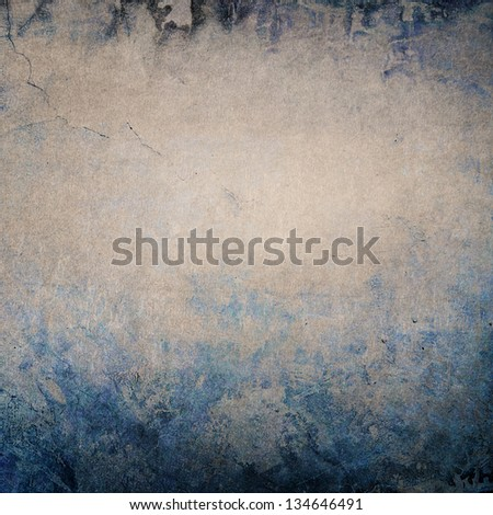 Vintage textured background with blue edges and grey faded central area - space for copy / text. Decay in cold colors. - stock photo