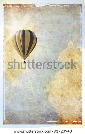 Vintage textured background with sun, balloon and clouds - stock photo