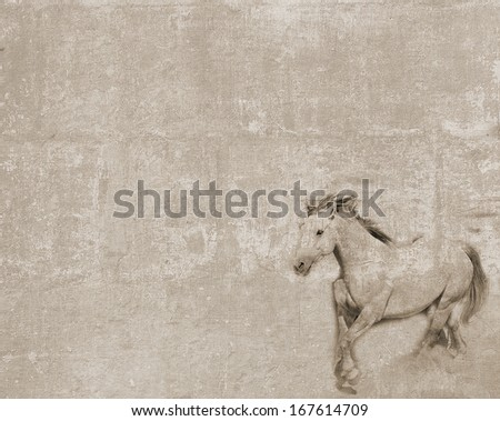 Vintage textured postcard with a horse outline - stock photo