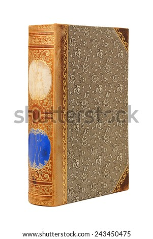Vintage 19th century book with ornate cover upright isolated on white background - stock photo