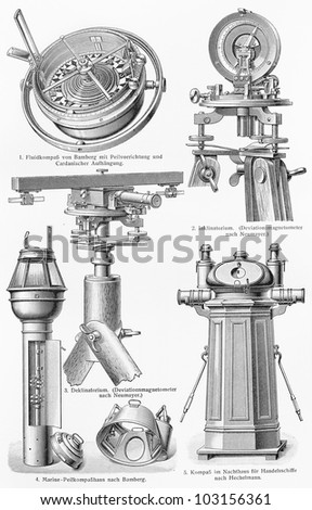 Vintage 19th century drawing representing various types of ship navigation Instruments - Picture from Meyers Lexikon book (written in German language) published in 1908 Leipzig - Germany. - stock photo