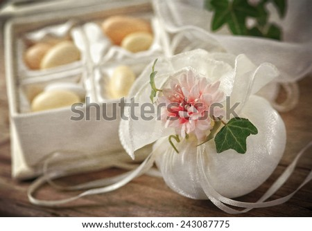 Vintage thank you gift for wedding reception - stock photo
