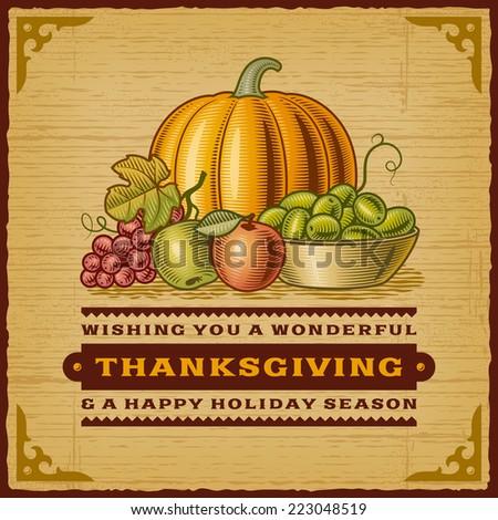 Vintage Thanksgiving Card - stock photo