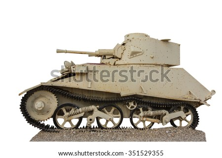 vintage the tank isolated on a white background - stock photo