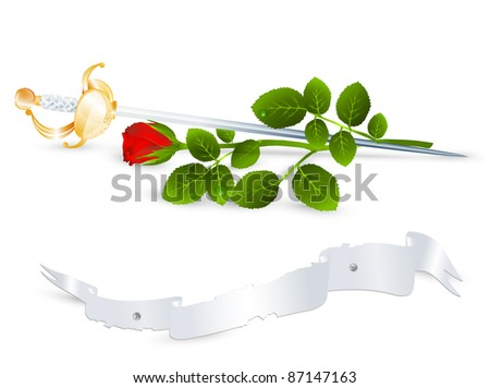 Vintage theme: red rose and sword, banner for your text - stock photo