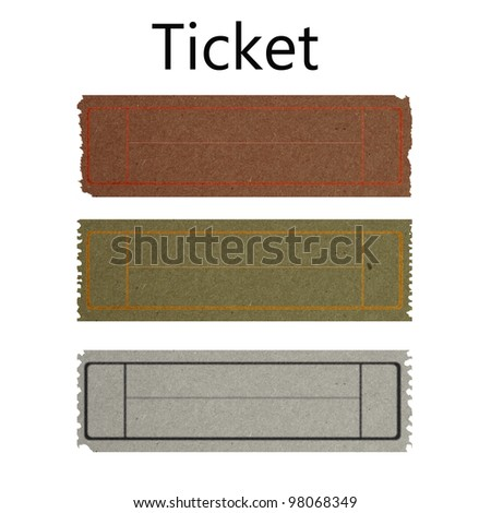 vintage ticket made by grunge recycle paper - stock photo