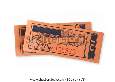 Vintage ticket stubs with copy space for text  - stock photo