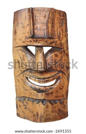 Vintage tiki mask isolated on white - stock photo