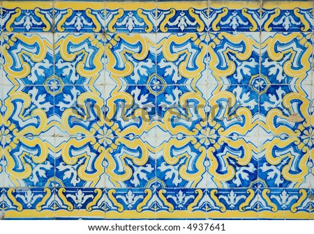 vintage tiles from Sintra, Pertugal - stock photo