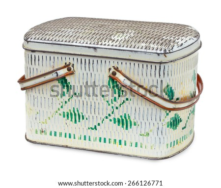 Vintage tin box isolated on the white background - stock photo