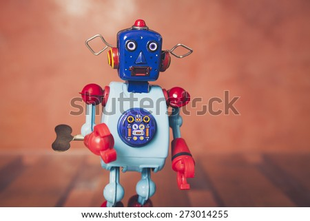 Vintage tin robot, close up. - stock photo