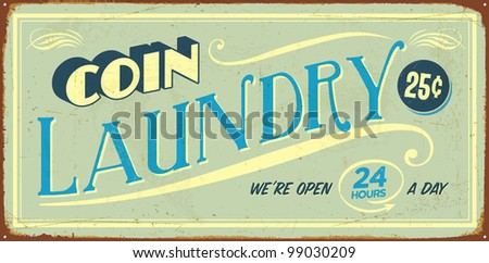 Vintage tin sign - Coin Laundry - Raster version - stock photo