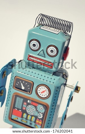 Vintage tin toy robot - stock photo
