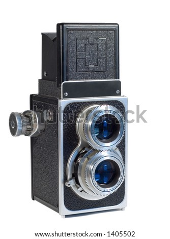 Vintage TLR Camera Isolated on White - stock photo