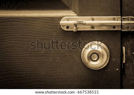 Vintage tone door knobs and door latches with wood door & Door Knobs Door Latches Defective Old Stock Photo 668625655 ... pezcame.com