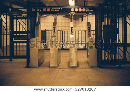 Vintage tone New York City subway turnstile