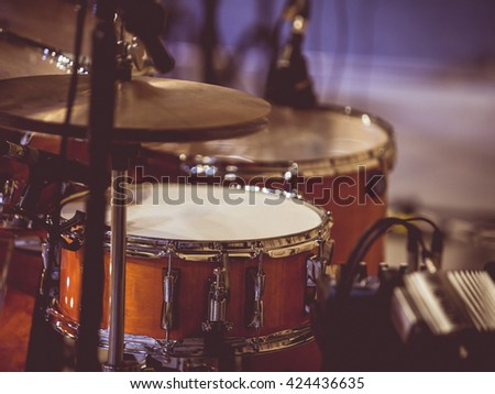 Vintage tone of Fragment drumset closeup