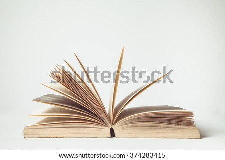 vintage tone of Open Book in white background