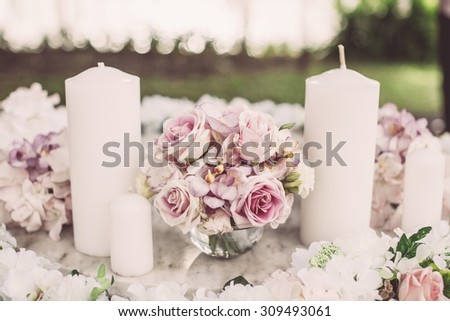 Vintage tone of Table set for an event party or wedding reception - stock photo