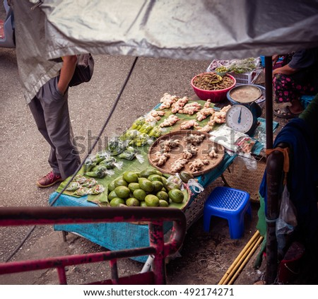 vintage tone of thai fruit and vegetable market on street of Thailand