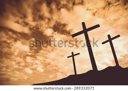 Vintage tone of Three crosses on a hill